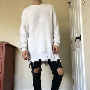 H&M • White longline distressed sweater